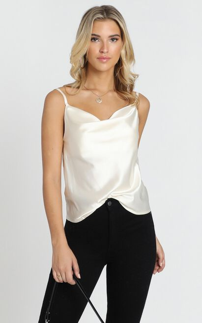 Straight Line Top in champagne satin - 20 (XXXXL), Beige, hi-res image number null