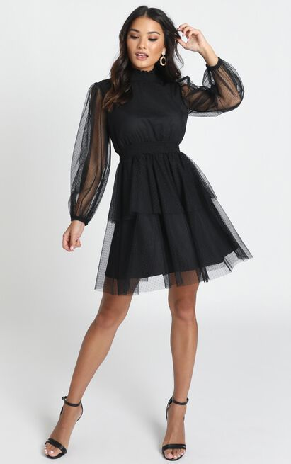 Selene Tiered Mesh Mini Dress in black spot - 12 (L), Black, hi-res image number null