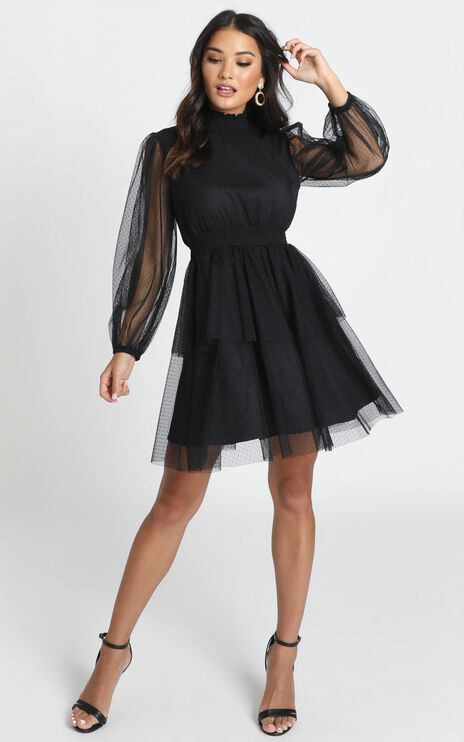 Selene Tiered Mesh Mini Dress In Black Spot