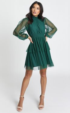 Selene Tiered Mesh Mini Dress In Teal Spot