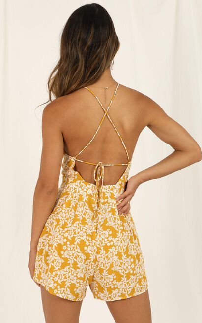 Across The Way Playsuit in yellow floral - 20 (XXXXL), Yellow, hi-res image number null