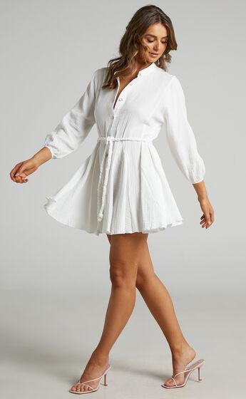 Raphaelle Long sleeve mini dress in White