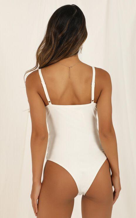 Got to Split Bodysuit In White Rib