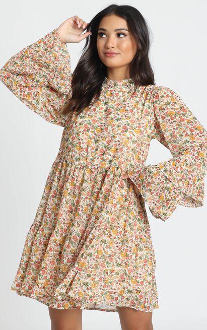 Argentina Dress in multi floral  - 14 (XL), Beige, hi-res image number null