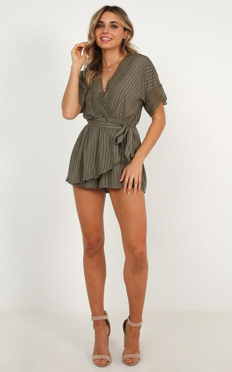 Find Your Destiny Playsuit In Khaki Stripe