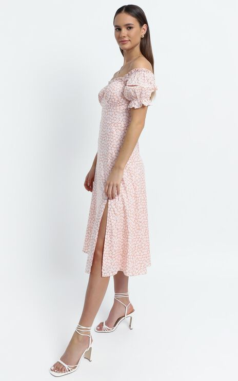 Brigitte Dress in Beige Floral