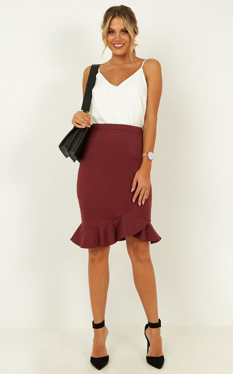 Mindful Soul Skirt In Wine