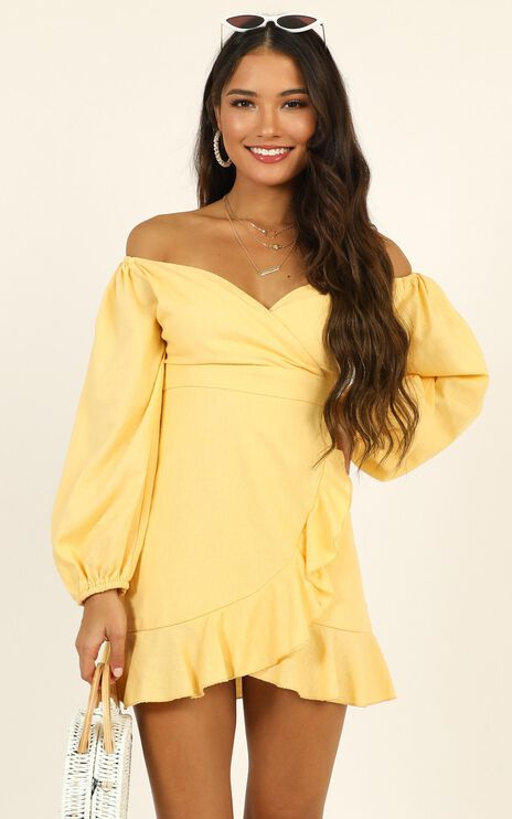 Cant Move On Dress In Lemon Linen Look