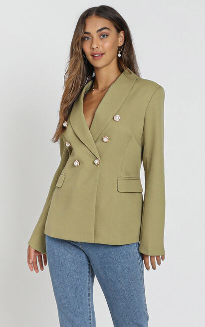 Lioness - The Kendall Blazer in pistachio - 6 (XS), Khaki, hi-res image number null