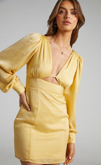 Abarca Panelled Balloon Sleeve Mini Dress in Pale Yellow
