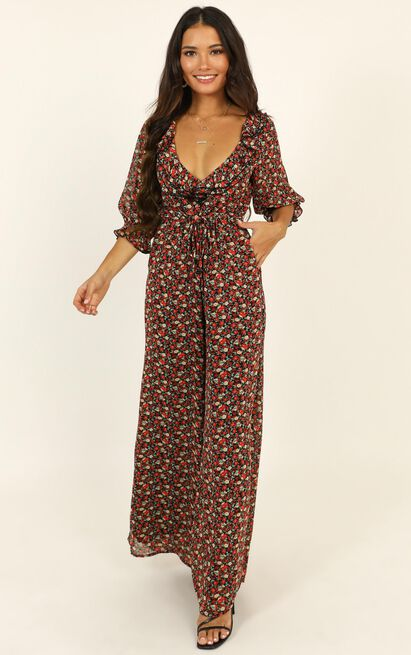 Paradise Falls Jumpsuit in black floral - 6 (XS), Black, hi-res image number null