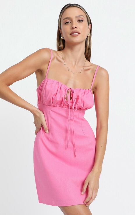 Break Free With Me Dress in Pink Linen Look