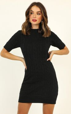 Winter Vacay Cable Knit Dress in Black