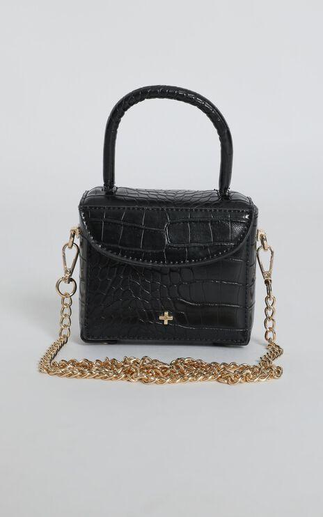 Peta and Jain - Georgia Mini Chain Bag In Black Croc