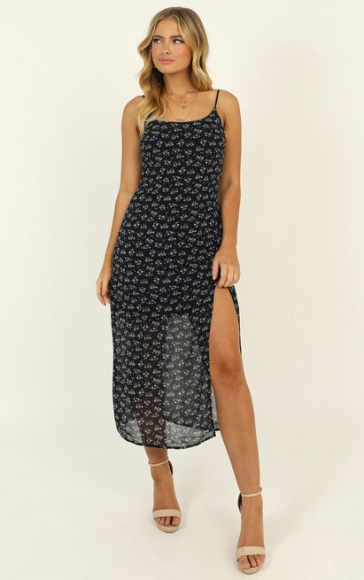 Kindra Midi Dress in navy floral - 14 (XL), Navy, hi-res image number null
