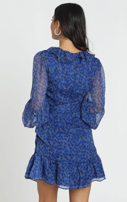 Alesha Long Sleeve Mini dress in cobalt blue floral - 6 (XS), Blue, hi-res image number null