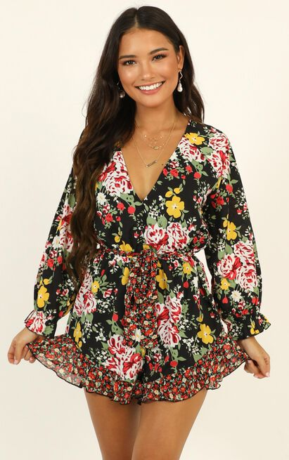 European Sunset Playsuit in black floral - 20 (XXXXL), Black, hi-res image number null