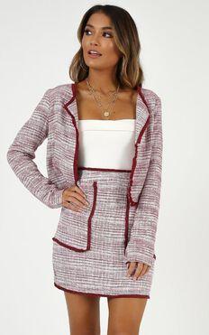 Respect Yourself Crop Jacket In Wine Tweed