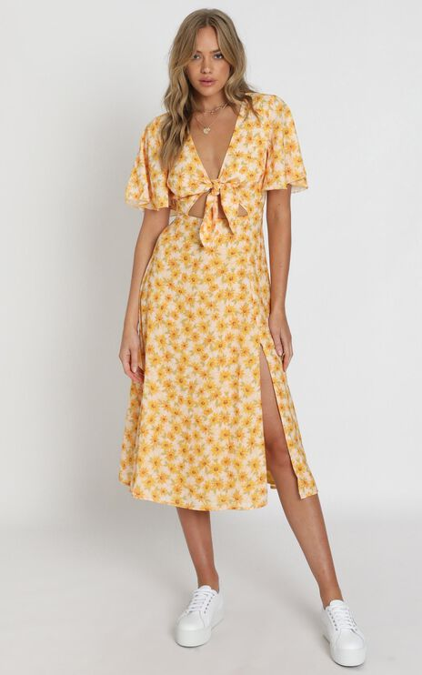Wild And Free Mind Dress In Sunflower Print
