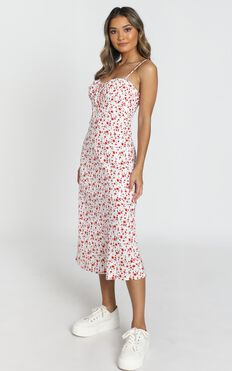 Rushing Back Dress In Red Floral