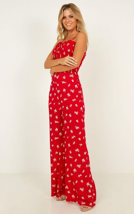 Cruise Around Jumpsuit In Red Floral