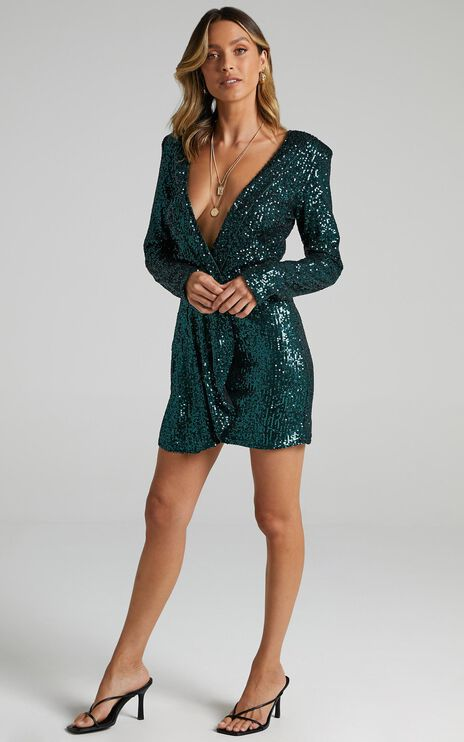 Lioness - Make Your Move Mini Dress in Teal