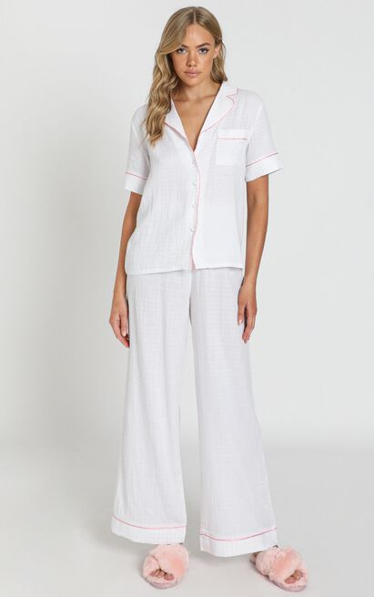 Sleeping Beauty Pyjama Pants In White Gingham - 20 (XXXXL), White, hi-res image number null