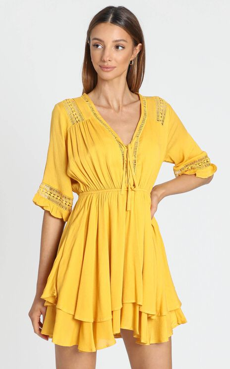 Rise Again Dress in Mustard