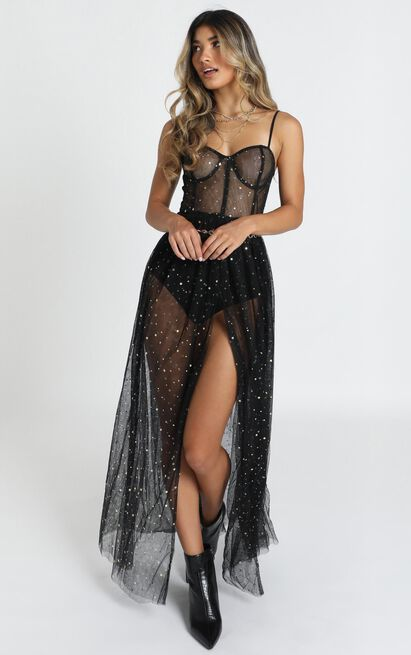 Stunning View Dress In black mesh - 20 (XXXXL), Black, hi-res image number null