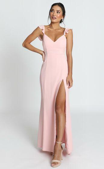 More Than This Ruffle Strap Maxi Dress in Blush