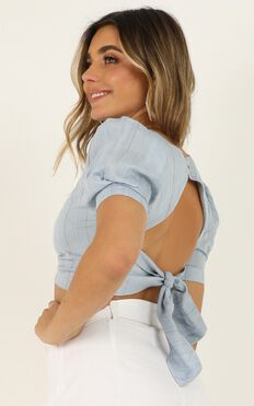 Tell Me You love Me Top In Blue Stripe