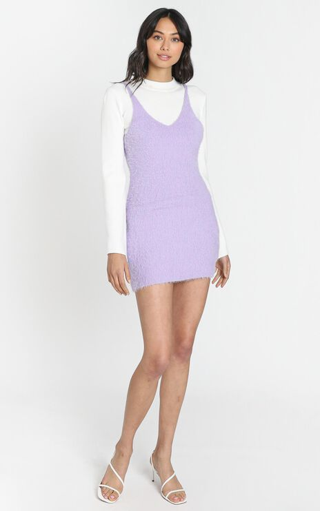 Leni Fluffy Knit Dress in Lilac