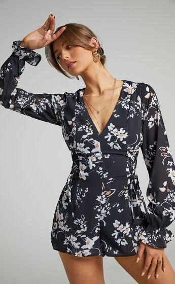 Gennie Shift Playsuit in Black Floral