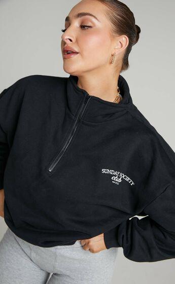 Sunday Society Club - Francisa High Neck Oversized Sweatshirt in Black