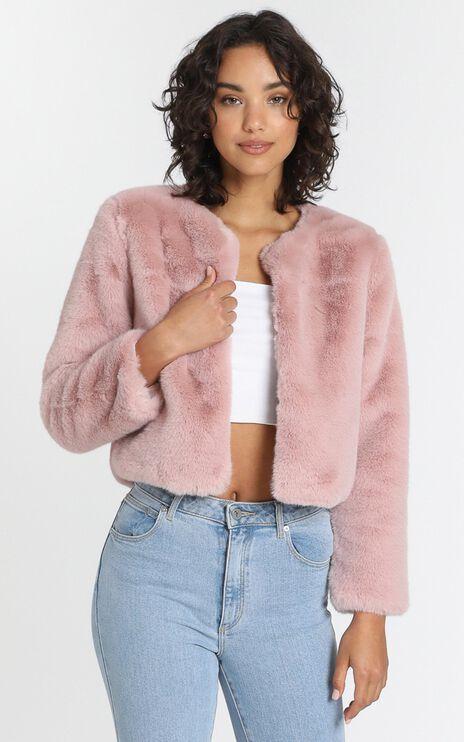 Genevieve Faux Fur Jacket in Rosehip