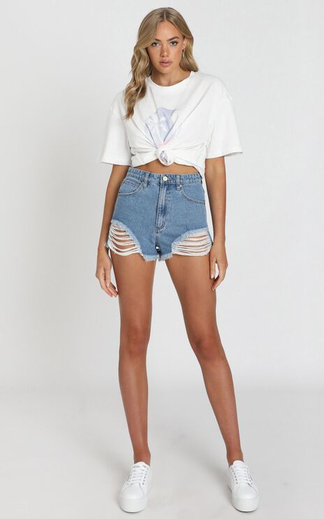 Abrand - A High Relaxed Denim Shorts in Salty Blue
