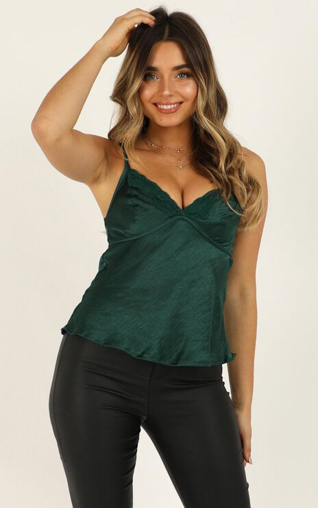 Look At Her Now Top In Emerald Green Satin
