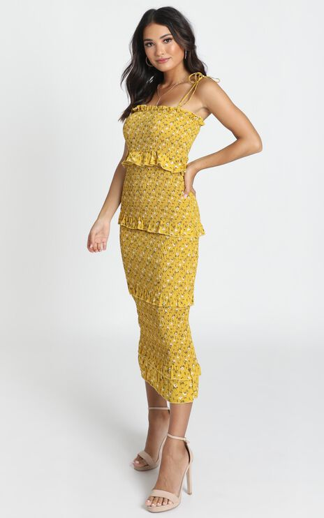 My Favourite Thing Shirred Midi Dress In Mustard Floral
