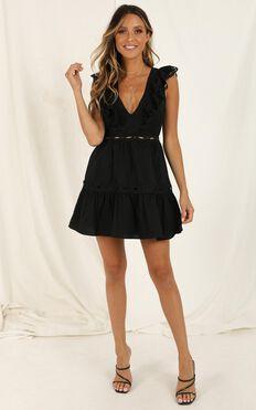I Want It Dress In Black Linen Look