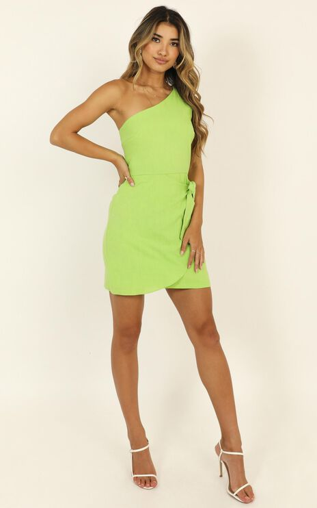 Keeping It Together Dress In Green Linen Look