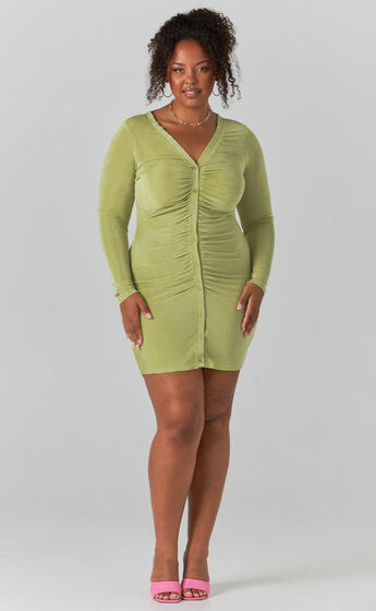 Shanti Ruched Button Front Mini Dress in Green