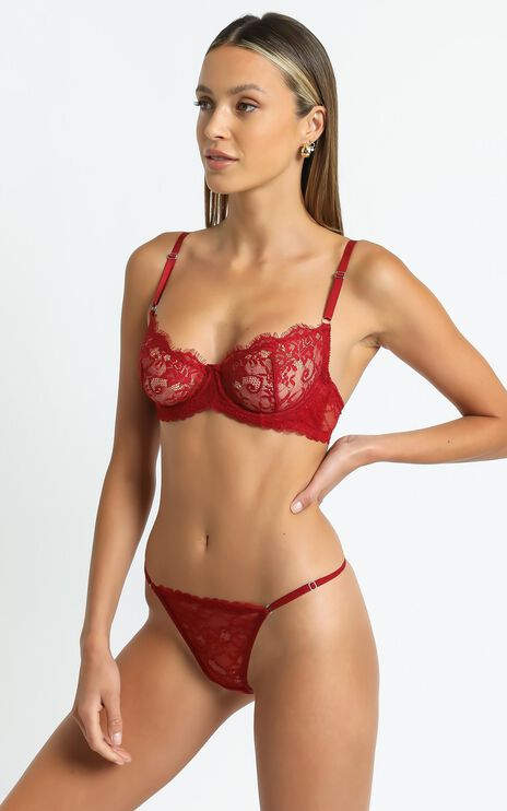 Kat The Label - Rosie Thong in Red Lace