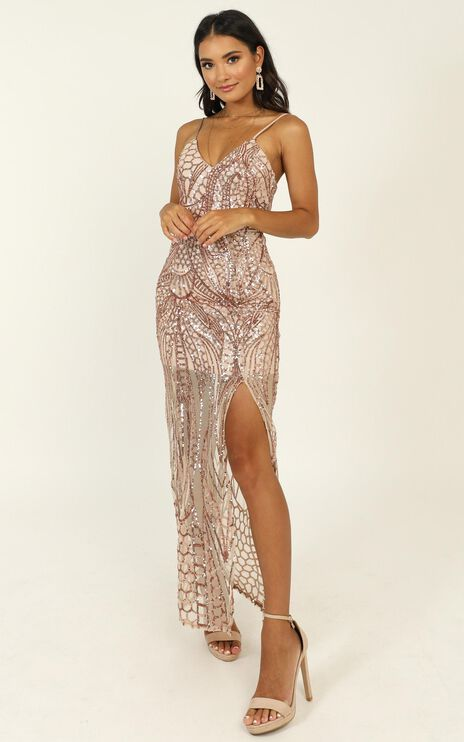 Be My Lover Dress In Rose Gold Sequin
