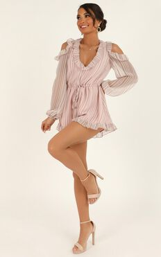 Rhythm And Love Playsuit In Blush Chiffon Stripe