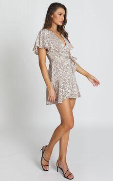 Adalyn Wrap Mini Dress in Leopard Print