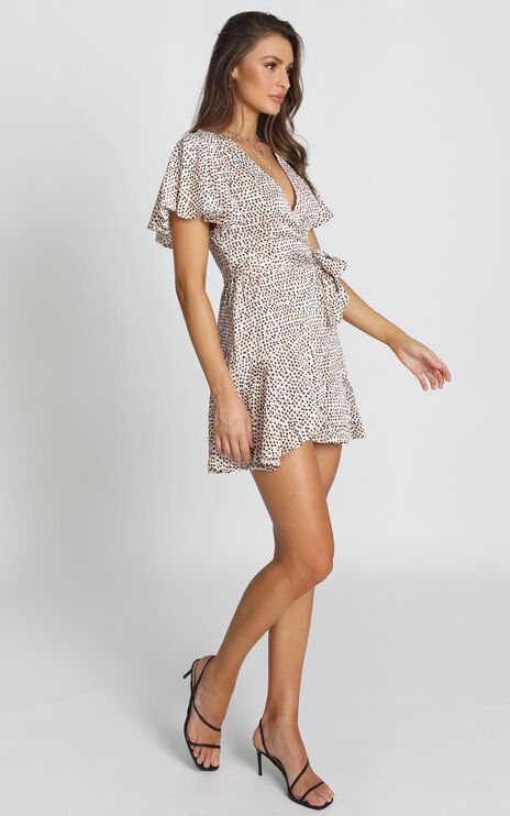 Adalyn Wrap Mini Dress in Leopard Print