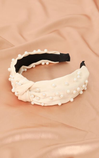 Waiting For You Headband In Cream And Pearl, , hi-res image number null