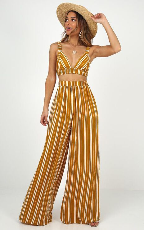There You Were Two Piece Set In Mustard Stripe