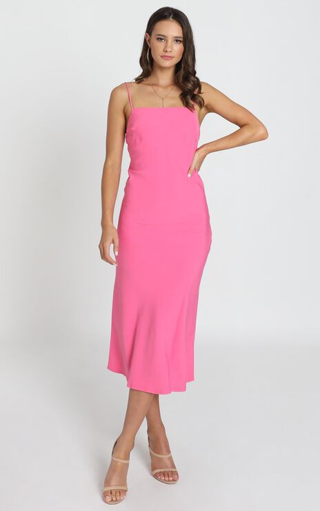 Regina Satin Slip Dress In Hot Pink
