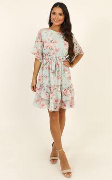 Self Loving Ruffle Dress In Mint Floral
